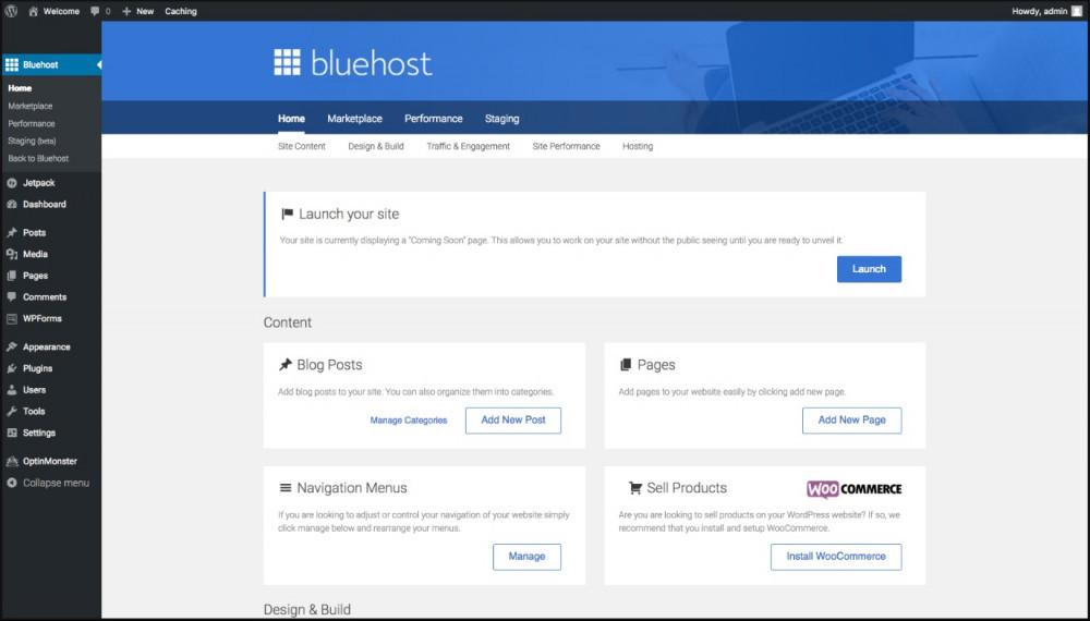 Bluehost customer dashboard