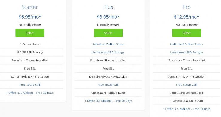 Bluehost eCommerce Plans