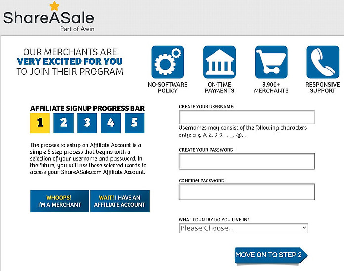 ShareaSale Affiliate marketing sign up page