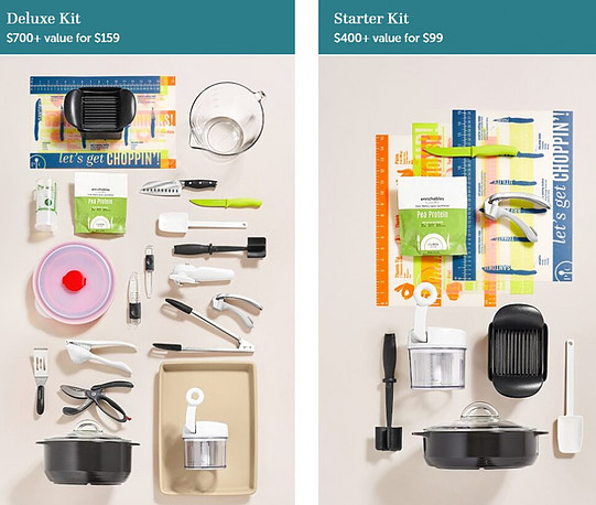 Pampered Chef starter kit and deluxe kit