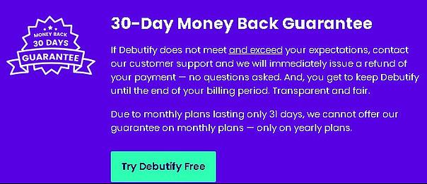 Debutify money back guarantee