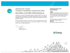 Renewable enrgy certificate for Green Geek hosting