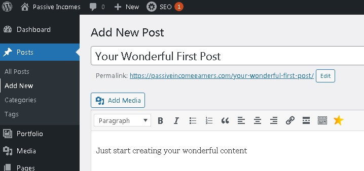 How to start a WordPress blog from nothing create add a new post