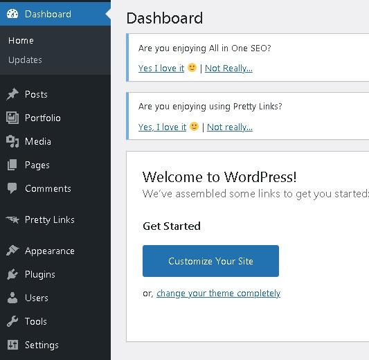 WordPress dashboard for passive income earners