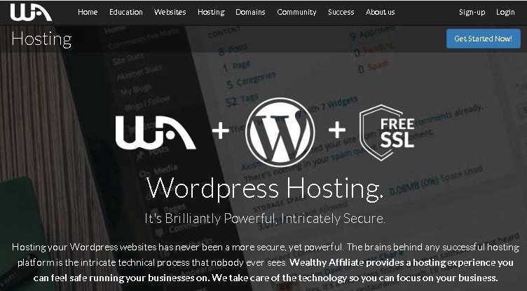 Wealthy Affiliate web hosting provider for WordPress